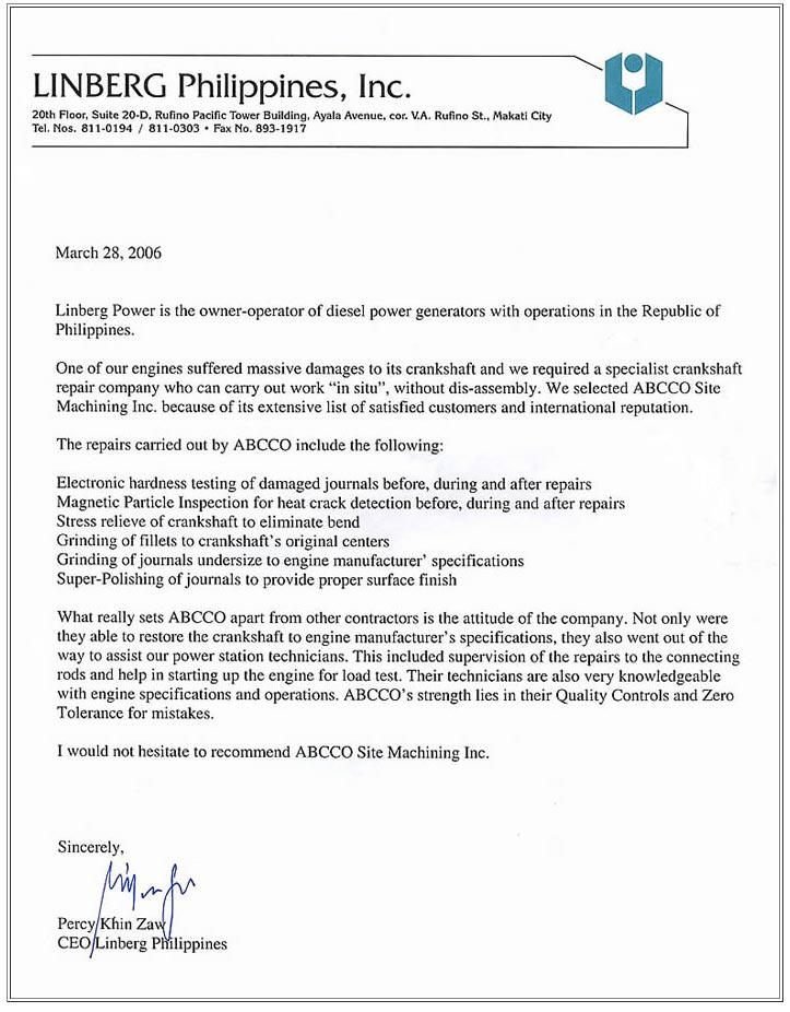 Endorsement Letter From Linberg Philippines | Abc Grinding